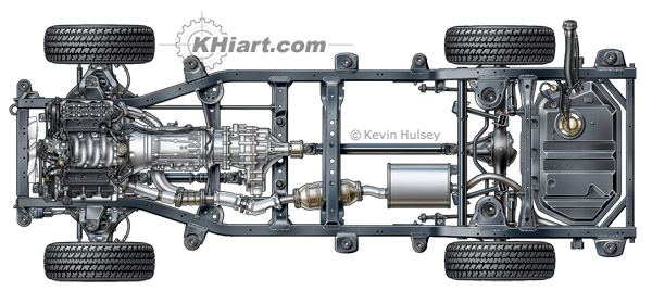 Aerial top view of SUV chassis
