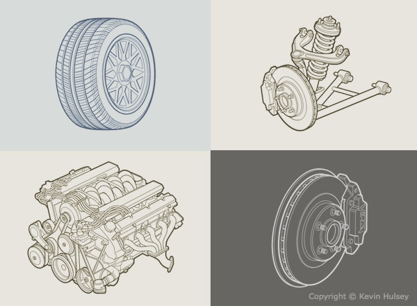 Car line drawings and black and white line art diagrams