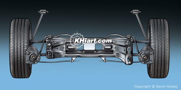Top view of a car sub-frame rear suspension