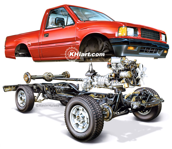 Pickup truck exploded view