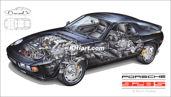 Cutaway vehicles, passenger cars and technical automotive illustrations